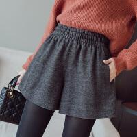 毛呢短裤女秋冬冬季韩版新款外穿加厚高腰宽松百搭短款阔腿裤 黑灰色