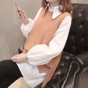 春秋新款韩版中长款圆领马甲衬衫针织两件套套装毛衣女百搭打底衫
