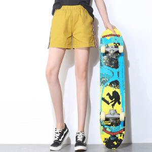 夏装新款侧边条纹短裤女直筒休闲热裤