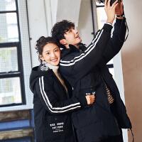 [2.5折价265.3元]唐狮情侣装冬装新款男女羽绒服中长款加厚韩国外套冬季学生潮外套