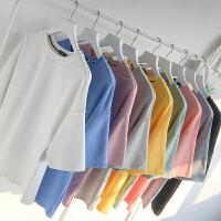 夏季新款短袖t恤糖果色宽松圆领韩版学生百搭打底上衣