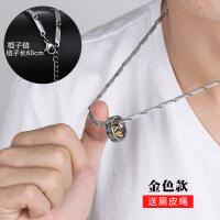 双环男士项链吊坠韩版潮人钛钢学生挂坠个性装饰品潮挂饰简约百搭
