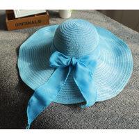 沙滩帽韩版草帽女夏季遮阳帽折叠防晒帽海边帽优质棉线大檐帽 均码