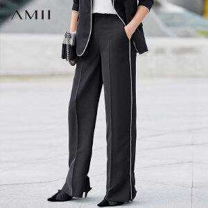 AMII休闲线条长裤2018春季新撞色拼接开衩弹力西装裤