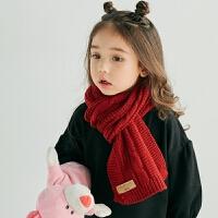 小孩冬季韩版百搭纯色宝宝质感红色毛线围巾儿童针织男女童围脖潮