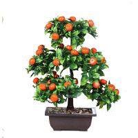 客厅假花苹果树仿真水果树盆景桔子苹果桃子盆栽家居客厅装饰假花摆设模型