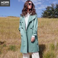 女式风衣秋季新款欧美风百搭气质长款女式风衣 绿色