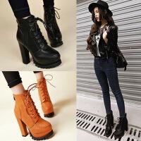 韩版秋冬新款女鞋防水台粗跟高跟短靴系带圆头马丁靴裸靴踝靴 黑色