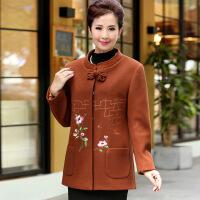 奶奶装秋冬装中国风毛呢外套中老年女装新品绣花盘扣立领上衣