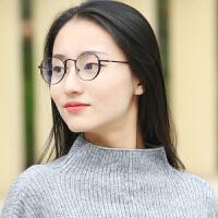 精致质感玫瑰金眼镜架女粉色韩版复古金属圆眼镜框男平光眼镜