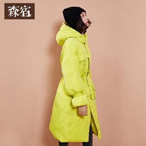 【尾品直降】森宿P温暖拥抱冬装新款文艺抽绳连帽宽松棉服长款女