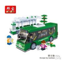 邦宝积木 拼插小颗粒积木益智儿童汽车玩具 巴士站8768拼插积木 男孩玩具