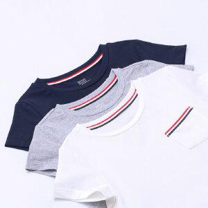 【下单立享5折】amii童装2017夏季男童中大童纯色T恤简约圆领套头儿童短T