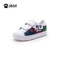 jm快乐玛丽2018秋季新款涂鸦亲子鞋魔术贴亮片休闲儿童鞋子83073C