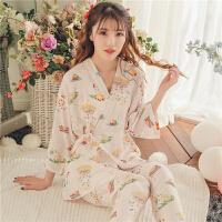 2018新款日式棉绸和服睡衣女士春夏季冰丝和风甜美日系可爱家居服套装薄款