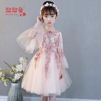 儿童礼服公主裙蓬蓬纱主持人晚礼服短款女孩钢琴演出服粉色春夏
