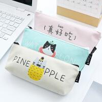 优湃 韩国可爱帆布笔袋 简约卡通女生文具盒小清新高中学生铅笔袋