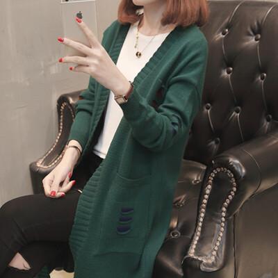 中长款针织外套女春秋2018春装新款女装口袋宽松长袖韩版毛衣开衫