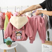 女童秋冬季套装女宝宝加绒两件套