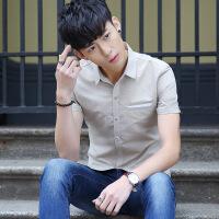 公爵车男士短袖衬衫韩版修身衬衣2018夏季新款青年休闲帅气寸衫薄