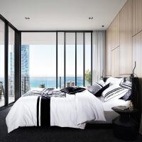家纺全棉欧式简约男士床上用品四件套纯色商务1.8m双人被套床单2米床 2.0米床(被套220*240 床单250*27