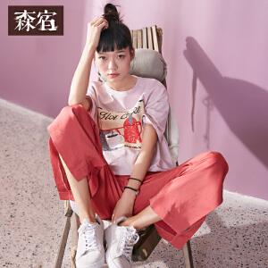 【尾品价90】森宿 纯真对白  春装文艺趣味印花图案T恤