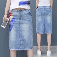 牛仔半身裙女夏中长款2018新款韩版高腰修身一步裙百搭包臀裙子潮 蓝色