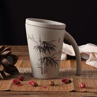 创意陶瓷杯子大容量水杯 家用马克杯简约带盖咖啡牛奶情侣创意水杯019