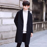 呢子外套男中长款秋季新款韩版宽松毛呢大衣男秋冬潮流风衣 黑色 M