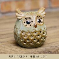 美式乡村复古陶瓷哑光可爱猫头鹰工艺品创意客厅办公室装饰品摆件