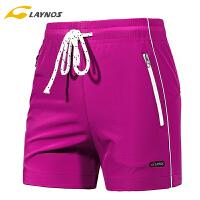 雷诺斯男女运动短裤夏季透气跑步裤大码宽松薄款健身速干五分裤