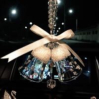 车载水晶风铃汽车挂件水晶铃铛圣诞汽车挂饰车载高档水晶钻天使球风铃雪花车饰