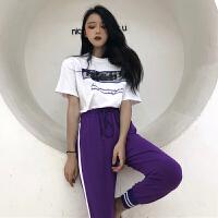 韩版运动休闲套装夏装女装宽松字母短袖T恤上衣+小脚哈伦裤两件套