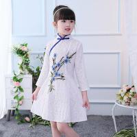 公主裙白色古筝合唱表演主持人秋冬新款演出服儿童礼服裙旗袍唐装