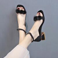 女士凉鞋户外时尚百搭仙女风粗跟配长裙的女鞋子