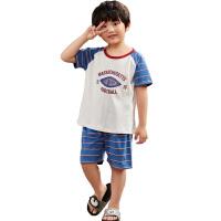 �和�睡衣小男孩短袖夏季薄款�l�y男童中大童夏天家居服空�{服