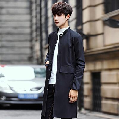 男士风衣中长款韩版休闲修身青年薄款外套发型师潮流帅气外套 黑色 M 一般在付款后3-90天左右发货,具体发货时间请以与客服协商的时间为准