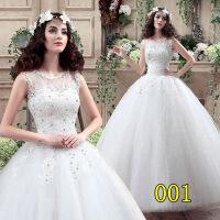 双肩婚纱礼服新款绑带吊带新娘婚纱韩式修身显瘦齐地婚纱礼服