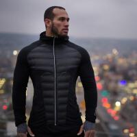 秋冬季新款运动健身外套男兄弟运动训练长袖休闲上衣 黑色