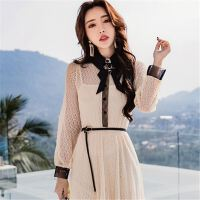 18新款春装拼色长袖蝴蝶结连衣裙女中长款时髦显瘦裙