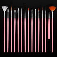 美甲彩绘画笔套装15支指甲笔刷全套光疗笔水晶雕花彩绘笔美甲工具