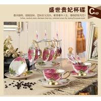 创意欧式陶瓷咖啡杯套装 简约金边创意6件套骨瓷咖啡杯带碟勺架子