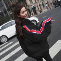 实拍 新款韩国街头运动风条纹连帽棒球棉衣女小棉袄冬款