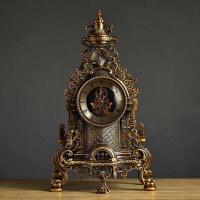 欧式客厅大号座钟 创意时尚复古金属座钟 静音现代美式石英钟表 1805B透明石英