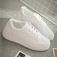 新款春秋季小白鞋女韩版百搭学生厚底内皮面增高休闲板鞋