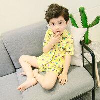 儿童纯棉睡衣套装男童女童棉绸薄款宝宝男孩春秋小孩夏天