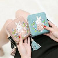 户外刺绣钱包女短款学生韩版可爱简约小清新流苏拉链钱夹