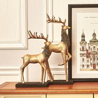 欧式复古树脂鹿摆件 创意客厅家居家装饰品工艺品玄关电视柜摆件