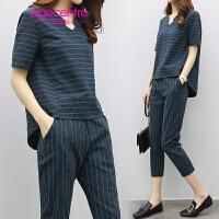 【两件5折】AGECENTRE时代中心2017夏季新款女装时尚休闲两件套短袖上衣小脚裤仿棉麻套装女