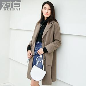 对白复古中驼色毛呢大衣女中长款新款简约长袖呢子外套